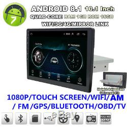 10.1 Single Din Android 8.1 Quad-Core 1+16GB Car Stereo Radio GPS WiFi 3G 4G BT