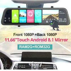 11.66 Android 8.1 Car DVR Camera Rearview Mirror GPS Navigation WiFi Recorder