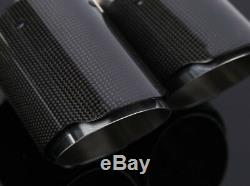 1Pcs Deluxe Real Carbon Fiber Steel Dual-Hole Car Right Exhaust Pipe Tip 63MM