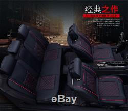 2017 Deluxe Auto Car Seat Covers PU Leather 5-Seats Cushions 2 Front with Pillows