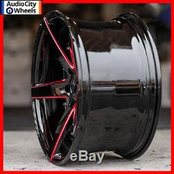 20 Staggered MQ 3226 Wheels Black with Red Milled Accents Rims and tires PKG