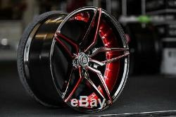 20 Staggered or Non Staggered MARQUEE Wheels 3259 Black Red Inner Rims