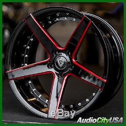 22x9 / 22x10.5 MQ 3226 rims Black with Red Milled Accents Rims fit Chevy