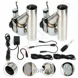 2Pcs 2.5 Electric Exhaust Downpipe E-Cut Out Valve with 1pcs Remote Control Kit