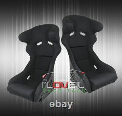 2X Bucket Racing Seats Pro Racer Profi Spg Style With Head Support Black Cloth