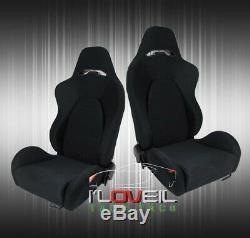 2X Fully Reclinable Racing Bucket Seats With Universal Slider Rails Black Cloth