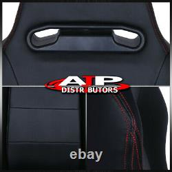 2X Type-R Fully Reclinable Racing Seat/Seats + Adjustable Slider With Red Stitch