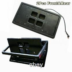 2X US Front+Rear Hide Electric Retractable License Plate Frame withRemote Control