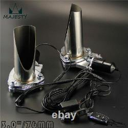 2x 3 76mm Electric Stainless Exhaust Cutout Cut Pipe with Remote control Kit