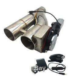 3 Electric Dual Valve Exhaust + Remote Bypass Cut out Dump Pipe Y Varex Inch