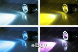 3 Projector Fog Light Lamps with 40-LED Halo Angel Eyes Rings + 3000K HID Combo
