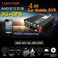 4CH Channel AHD Car SUV Mobile Phone DVR 3G Wifi GPS Realtime Video Recorder Kit