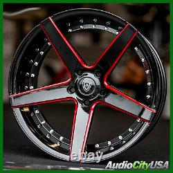 4pcs 20 Staggered MQ M3226 Wheels Black with Red Milled Accents Rims
