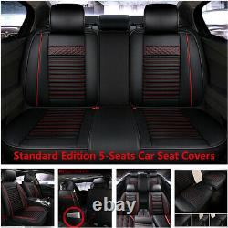 5-Seats Car Seat Covers Front+Rear PU Leather Full Set For Interior Accessories