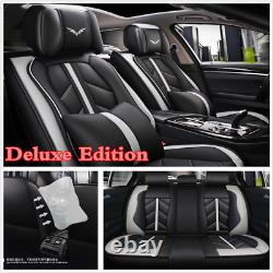 5-Sits Car Seat Cover PU Leather Front Rear Cushion +Pillow Interior Accessories