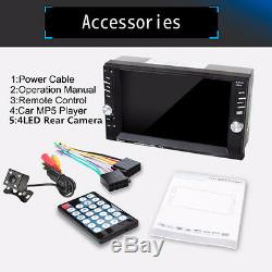 7651D Car MP5 Media Player 2DIN Bluetooth FM Radio Stereo Player 2-USB TF AUX-IN