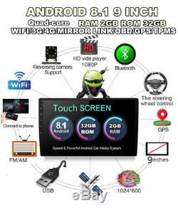 9 Single Din 2GB32GB Android 8.1 Touch Screen Car Stereo Radio Wifi GPS Player