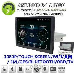 Android 8.1 Car MP5 Player GPS Navigation Touch Screen Stereo Radio Quad Core FM