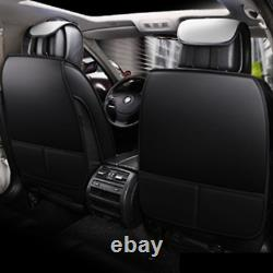 Black/Gray PU Leather 5-Seat Car Seat Cover Cushion For Interior Accessories