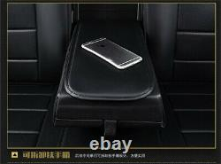 Black Luxury Car PU Leather Seat Cover Cushion 5 Seats Full Front+Rear Universal