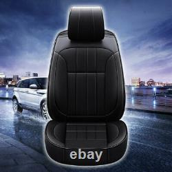 Black Luxury PU Leather Car Seat Covers Front&Rear SUV Cushions 5-Sits Universal