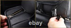 Black+Red Breathable PU Leather Full Set Car Seat Cover Cushion For 5-Seat Car