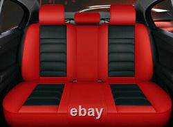 Black/Red Full 5D Surround PU Leather Car Seat Cover Cushion Set For 5-Seat Car