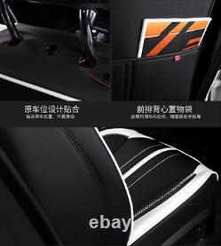 Black/White Luxury Breathable PU Leather 5-Seat Car Seat Covers Seat Cushions
