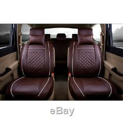 Car Seat Cover PU Leather 5 Seats Front+Rear Mat Universal All Season Coffee L
