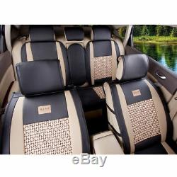 Car Seat Cover PU Leather Mesh 5-Seats Front+Rear+Pillows Set Black/Beige Size M