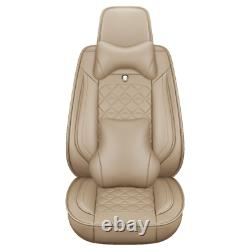Deluxe Car Seat Covers 5-Seats Front Rear PU Leather Cushions Set Auto SUV Truck