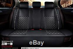 Deluxe Edition Car Seat Cover Cushion 5-Seats Front + Rear PU Leather with Pillows