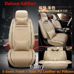 Auto Car Seat Cover Cushion 5-Seats Front Rear PU Leather+Pillows Deluxe Edition
