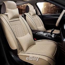 Deluxe PU Leather Car Seat Cover Cushion 5-Seats Front + Rear with Pillows Size M