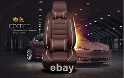 Deluxe PU Leather Full Surround Car Seat Cover Cushion Full Set For 5 Seat Car