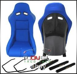 Firm Grip Bucket Blue Cloth Automotive Racing Seats Low Style With Slider Mounts