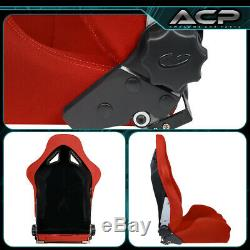For Mazda Racing Fully Reclinable Bucket Seat Chair Driver/Passenger Rail Red
