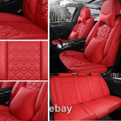 Full Car Seat Covers 5-Seats Front+Rear 100% Top PU Leather Protector Cushion US