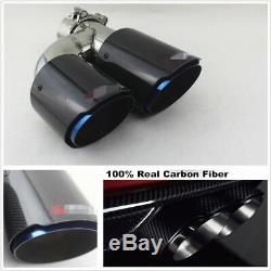 Glossy 100% Carbon Fiber Car Dual Pipe Left Exhaust Pipe Tail Muffler Tip Blue
