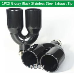 Glossy Stainless Steel Exhaust Tip Pipe Dual Wall Round 2.5 Inlet 3.5 Outlet