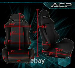 Left+Right Reclinable Bucket Seats Chairs Off-Road Pvc Leather + Slider Black