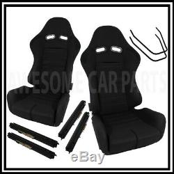 Low Max Black Cloth Reclinable Racing Seat Slider Racing Track Pair Left Right