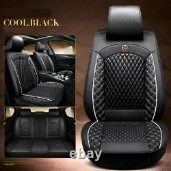 Luxury PU Leather 5-Seats Car Seat Cover Front Rear Cushion Full Set Black/White