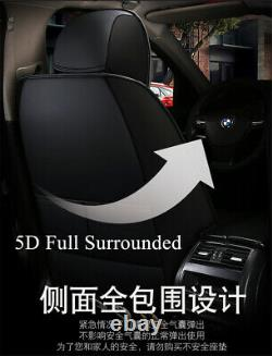 Luxury PU Leather 5 Sits Car Seat Covers Front+Rear Full Surrounded Seat Cushion
