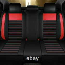 Luxury PU Leather Car Seat Cover Cushion Waterproof 5-Sit Front Rear withPillow US