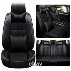 PU Leather Car Auto Seat Cover Protector 5-Seats Universal+Cushion Full Surround