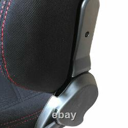 Pair Left Right Reclinable Sports Bucket Racing Seats Red Stitch Black Cloth