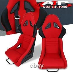 Pair Of Black Fiberglass Bucket Red Cloth Racing Seats With Sliders For Acura
