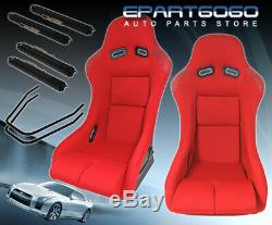 Pair Of Full Bucket Automotive Racing Seats With Slider Railers Mounts Red Cloth