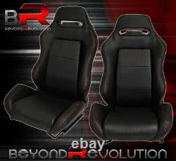 Pair Of Reclinable Bucket Seats Chairs Tiltable Pvc Leather Wrap +Slider Black